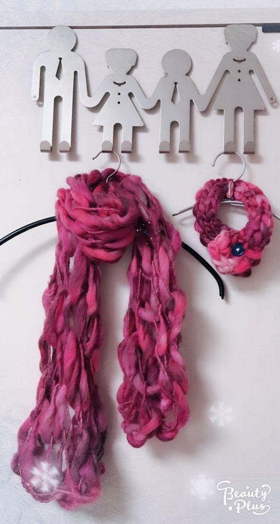 うで編み,指編み,マフラー